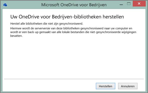 Schermafbeelding van het dialoogvenster Herstel uw OneDrive voor Bedrijven-bibliotheken