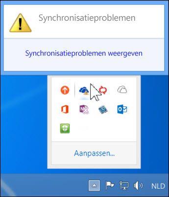 Synchronisatieproblemen weergeven in het foutoplossingsvenster