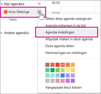 Instellingen van Google-agenda